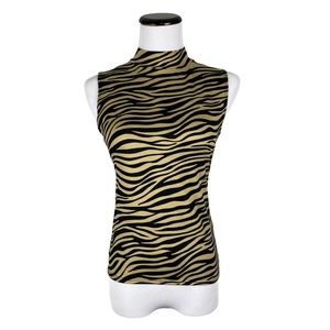 Olivia Rae Zebra Striped Sleeveless Mock Neck Top